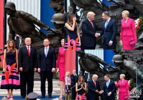 غم ترامپ پس از اینکه همسر رییس جمهوری لهستان با او دست نداد/عکس
