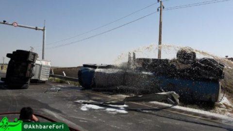 واژگون شدن تانکر بنزین در ارومیه