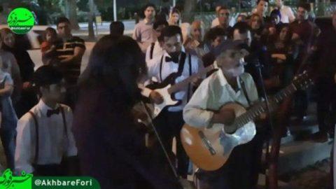 کنسرت خیابانی یک کارتن خواب/ غافلگیری عابران خیابان ولیعصر