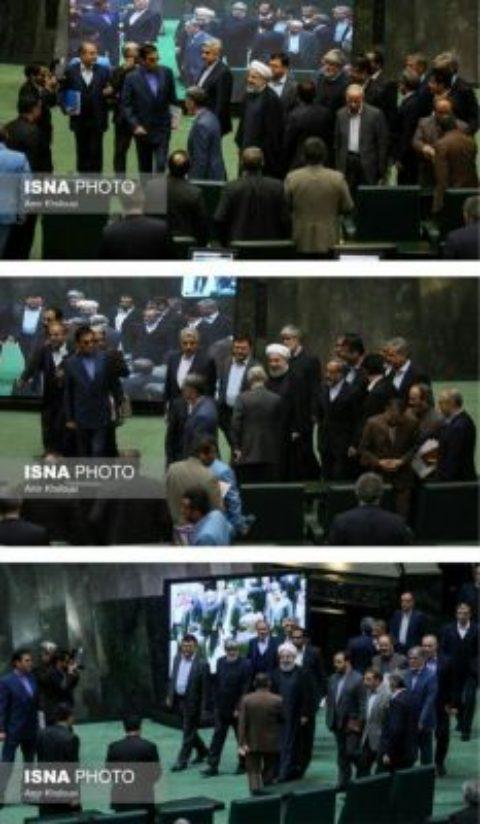چه كساني از روحاني در مجلس استقبال كردند؟